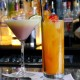 Coconut martini and rum punch on bar