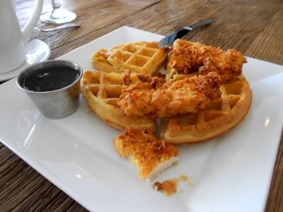 Brunch Chicken Waffles w knife