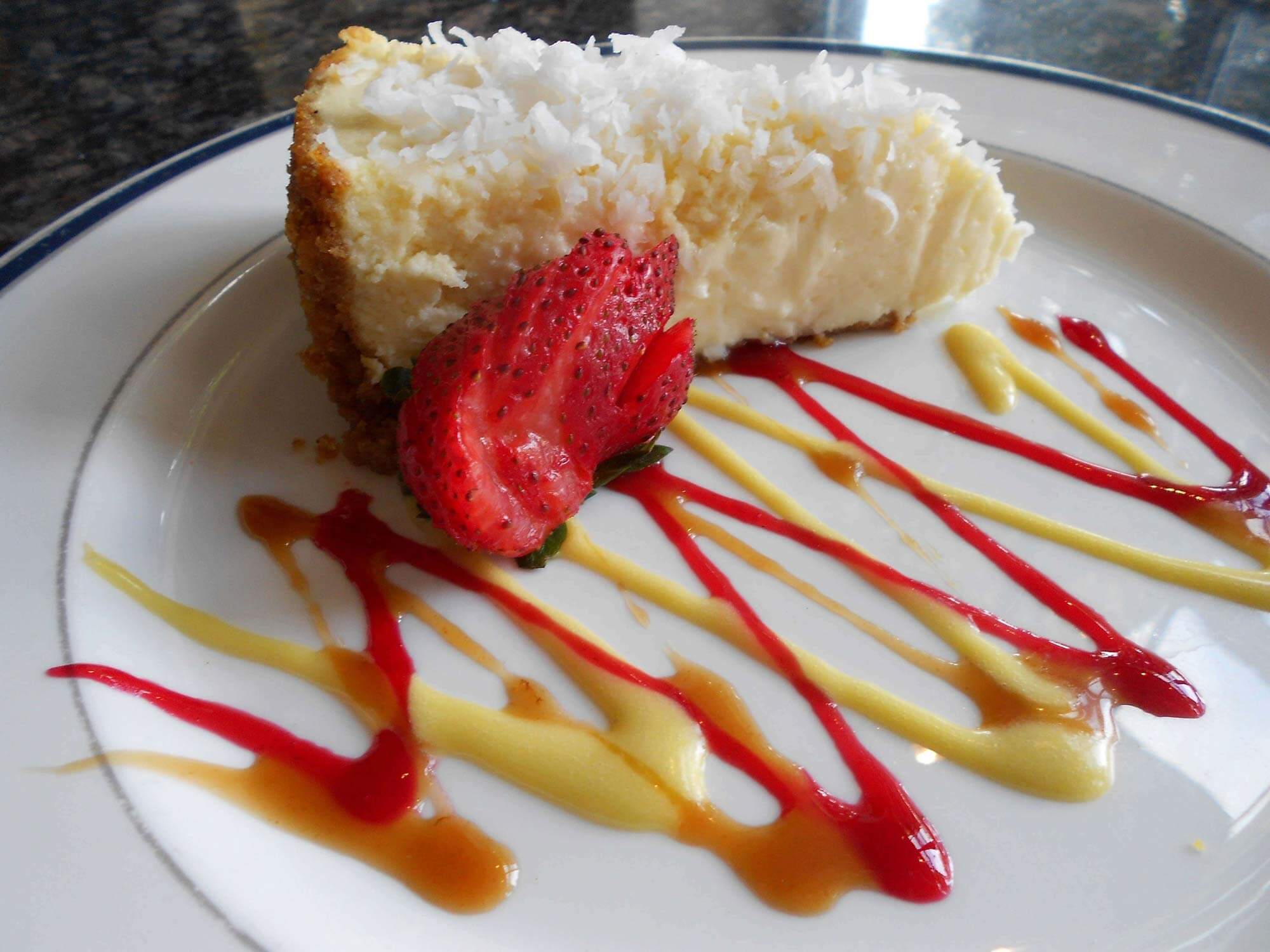 Coconuit cheesecake on counter
