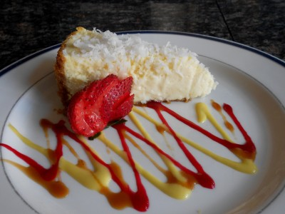 Coconut cheesecake plated cl